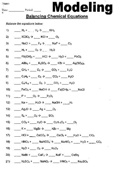 Balancing Chemical Equations Worksheet for 9th - 12th Grade ...