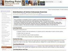 Distribution of Active Volcanoes Exercise Lesson Plan