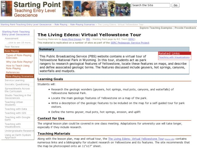 The Living Edens: Virtual Yellowstone Tour Lesson Plan