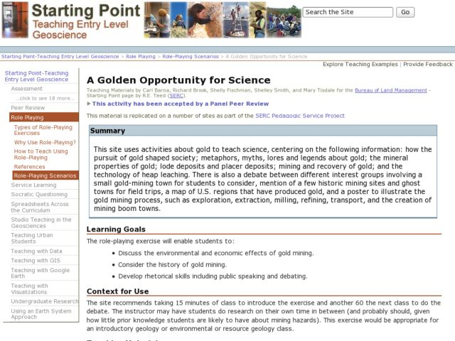 A Golden Opportunity for Science Lesson Plan