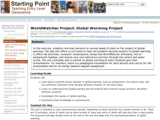 WorldWatcher Project: Global Warming Project Activities & Project