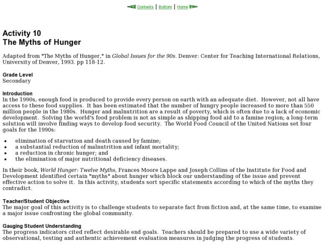 The Myths of Hunger Lesson Plan