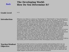 The Developing World: How Do You Determine It? Lesson Plan