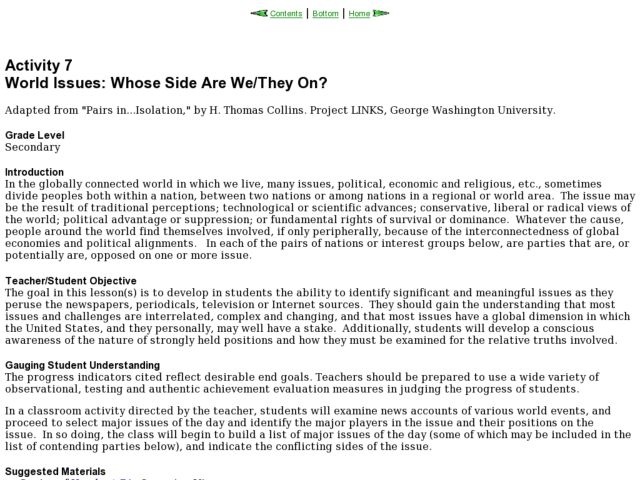 World Issues: Whose Side Are We/They On? Lesson Plan