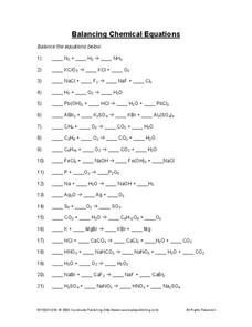 Balancing Chemical Equations Worksheet for 10th - Higher Ed ...