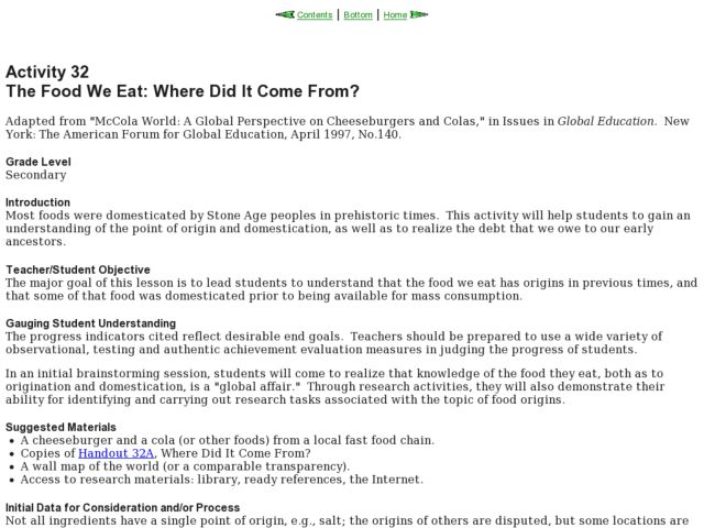 The Food We Eat: Where Did It Come From? Lesson Plan