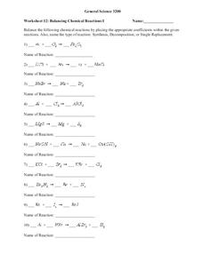 Balancing Chemical Reactions Worksheet
