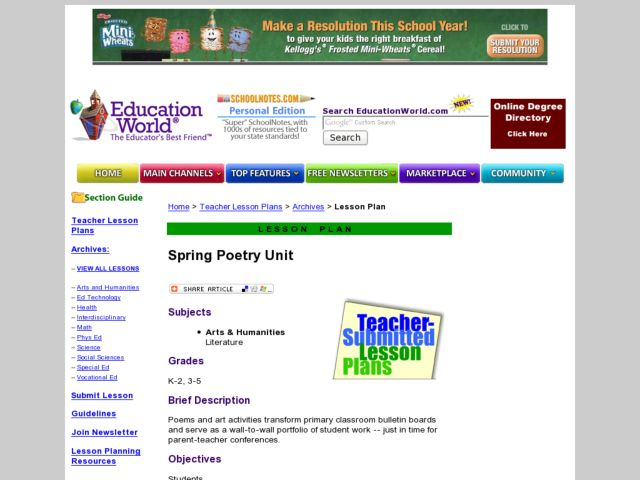 Spring into Poetry Lesson Plan