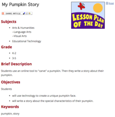 My Pumpkin Story Lesson Plan