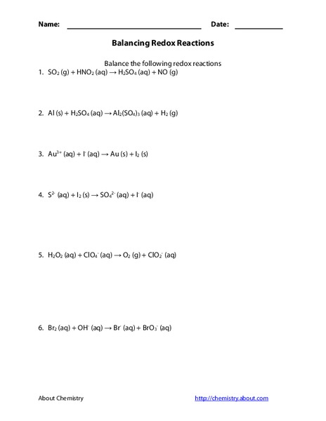Balancing Redox Reactions Worksheet for 10th - 12th Grade | Lesson ...