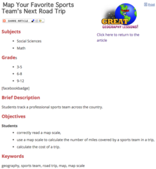 Map Your Favorite Sports Team's Next Road Trip Lesson Plan