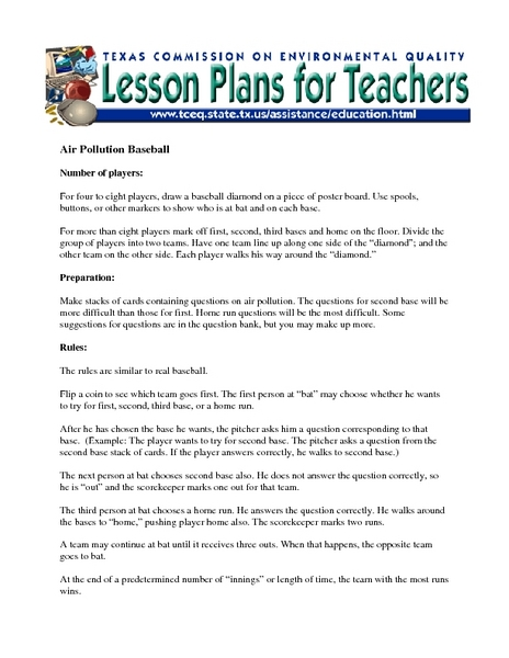 Air Pollution Baseball Lesson Plan