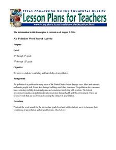 Air Pollution Word Search Activity Lesson Plan