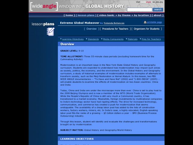 World History: Extreme Global Makeover Lesson Plan