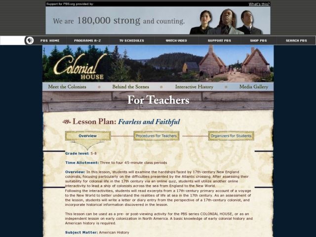 Colonial History: Fearless and faaithful Lesson Plan