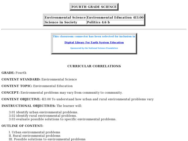 Environmental Education -- Communities Lesson Plan