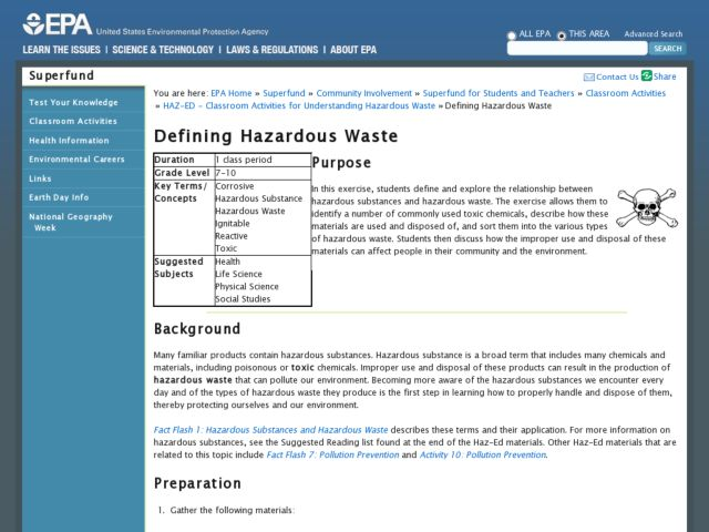 Defining Hazardous Waste Lesson Plan