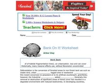 Bank On It! Worksheet Worksheet