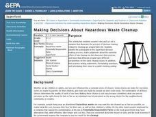 Making Decisions About Hazardous Waste Cleanup Lesson Plan