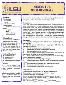 Mining for Mmm-minerals Lesson Plan