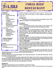 Coral Reef Restaurant Lesson Plan