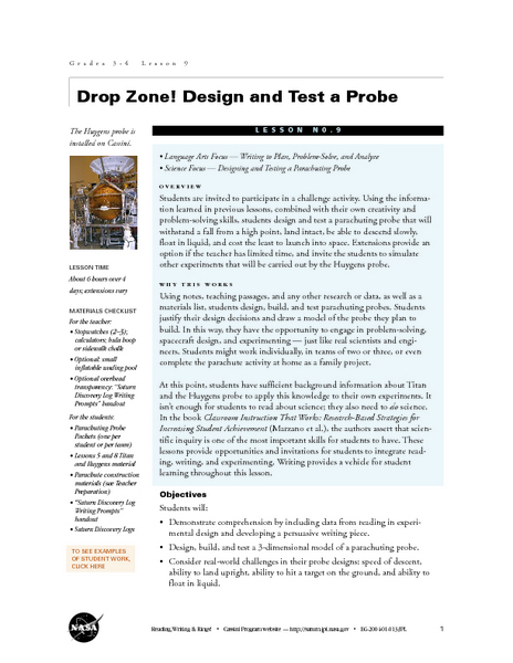 Drop Zone! Design and Test a Probe Lesson Plan for 3rd