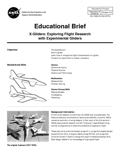 X-Gliders: Exploring Flight Research with Experimental Gliders Lesson Plan