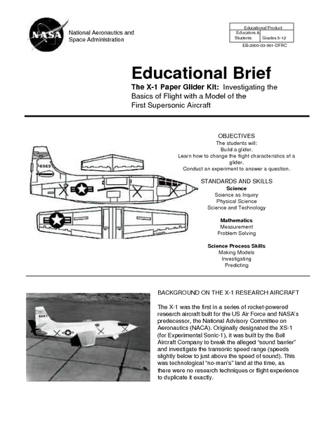 The X-1 Paper Glider Kit Lesson Plan