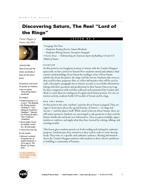 "Discovering Saturn, The Real ""Lord of the Rings"" Lesson Plan"