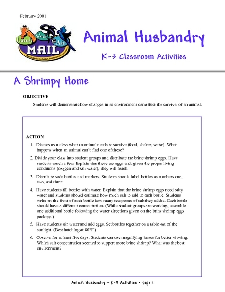 Animal Husbandry Lesson Plan