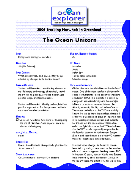 Tracking Narwhals in Greenland The Ocean Unicorn Lesson Plan