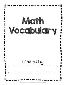 Academic Math Vocabulary Graphic Organizer