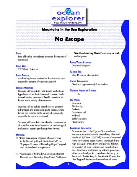 Mountains in the Sea Exploration No Escape Lesson Plan