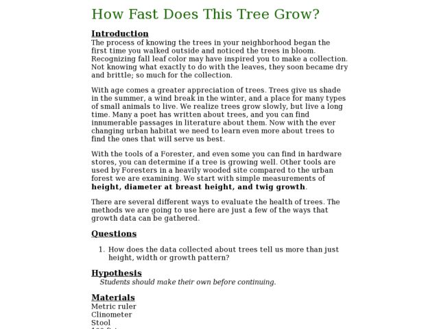 How Fast Does This Tree Grow? Lesson Plan