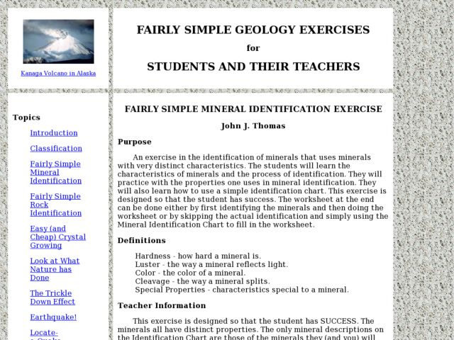 Fairly Simple Mineral Identification Exercise Lesson Plan