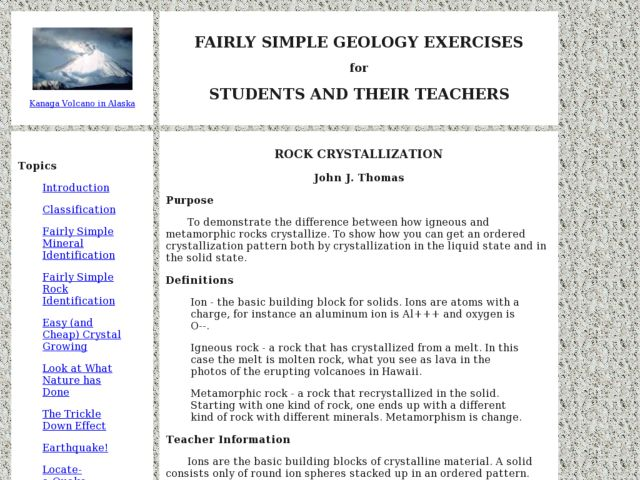 Rock Crystallization Lesson Plan