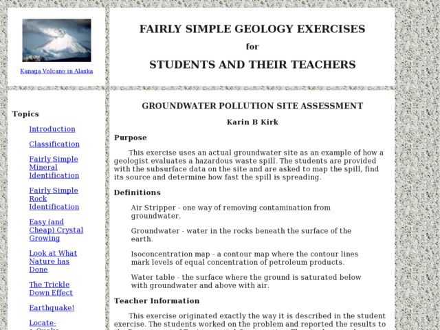 Groundwater Pollution Site Assessment Lesson Plan
