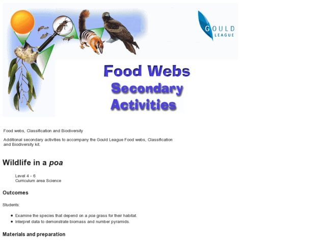 Wildlife in a Poa Lesson Plan
