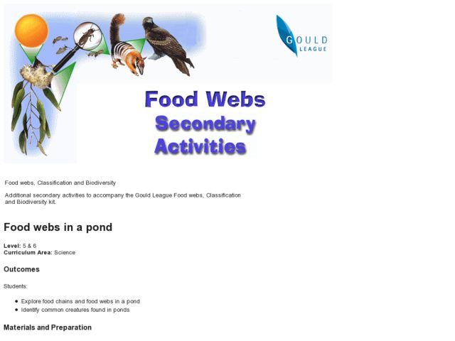 Food Webs in a Pond Lesson Plan
