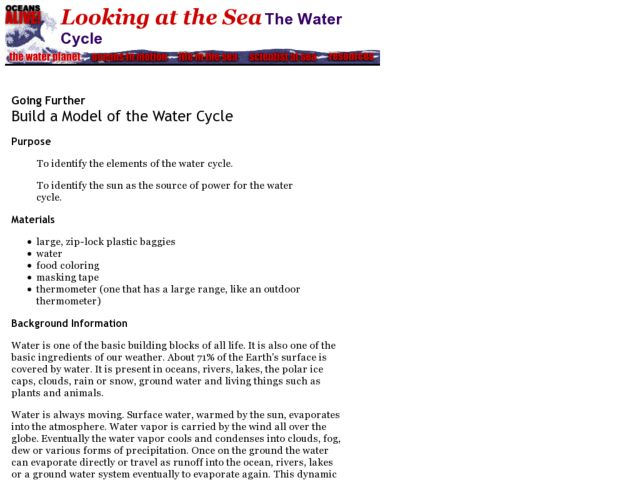 Build A Model of the Water Cycle Lesson Plan