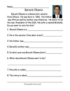 Barack Obama Worksheet