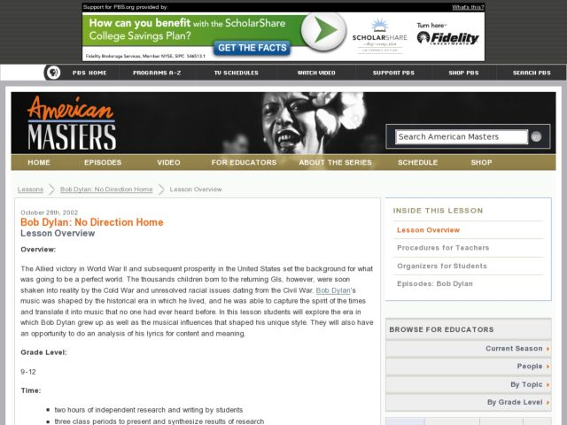 Bob Dylan: No Direction Home Lesson Plan