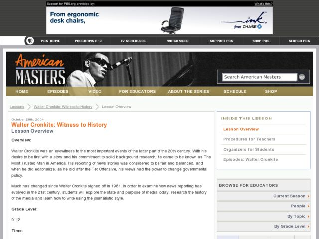 Walter Cronkite: Witness to History Lesson Plan