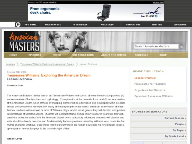Tennessee Williams:  Exploring the American Dream Lesson Plan