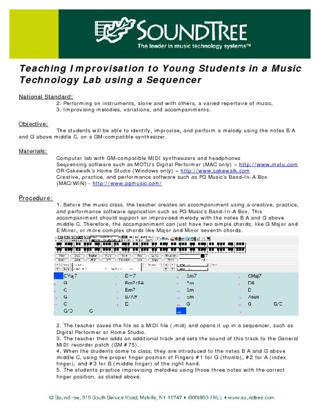 Teaching Improvisation to Young Students in a Music Technology Lab Using a Sequencer Lesson Plan