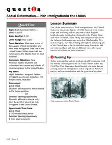 Social Reformation-Irish Immigration in the 1800s Lesson Plan