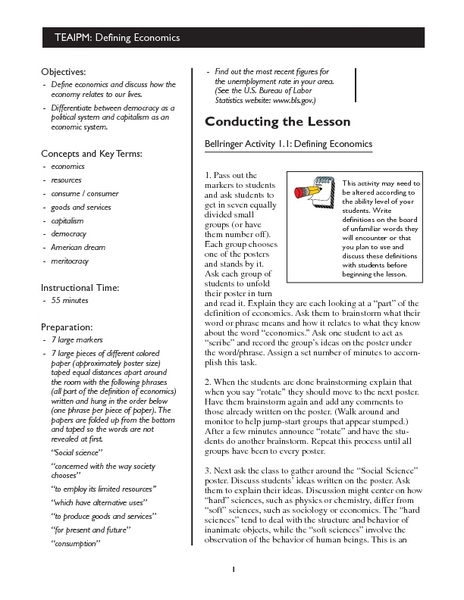 Economics Lesson Plan #2 Lesson Plan