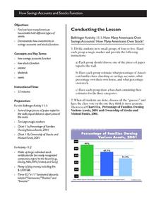 Savings and Stocks Lesson Plan