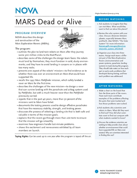 MARS Dead or Alive Lesson Plan