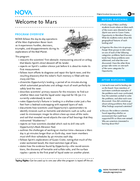 Welcome to Mars Lesson Plan